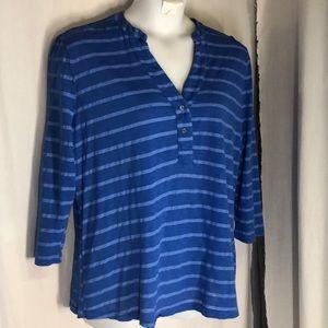 Fresh Produce 1x Blue Striped Slub Top Tab Sleeves